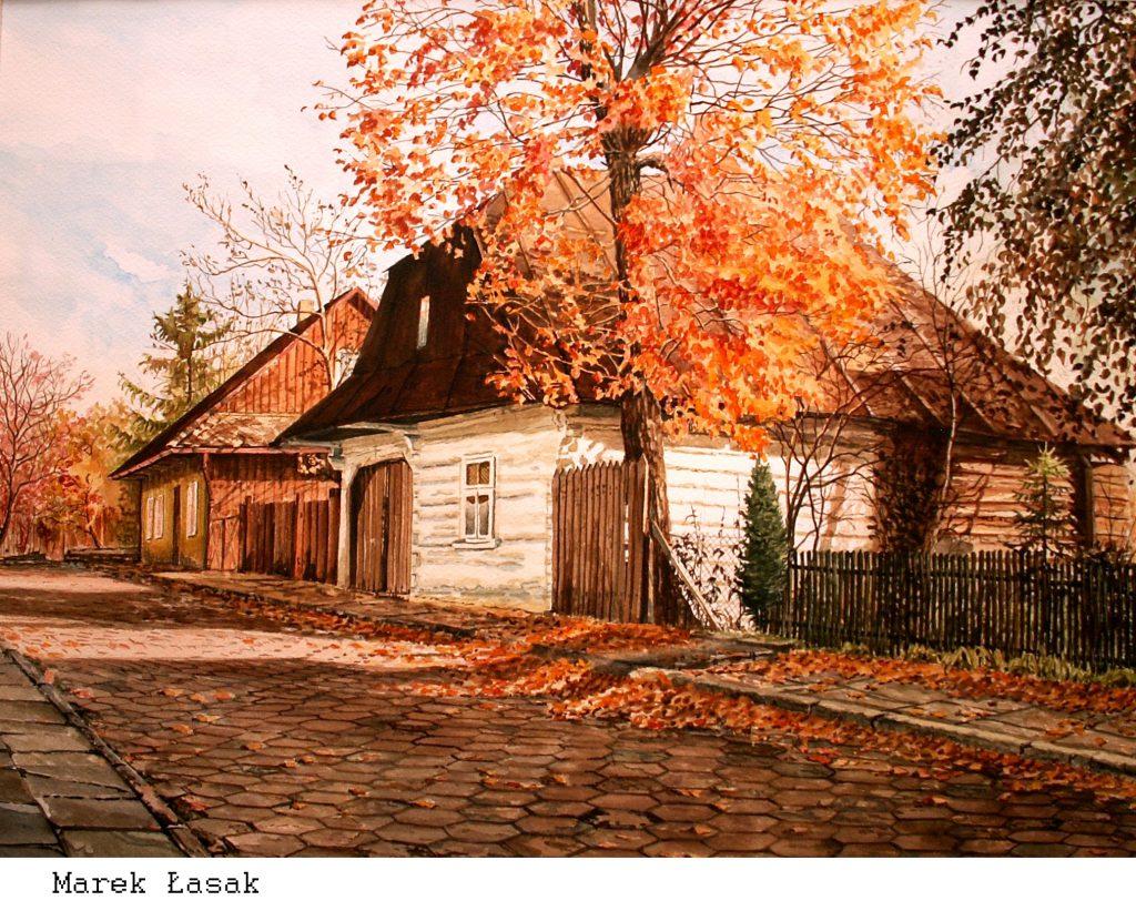 Marek Łasak_Lanckorona - ,,Jesień,,42 x 56 akwarela
