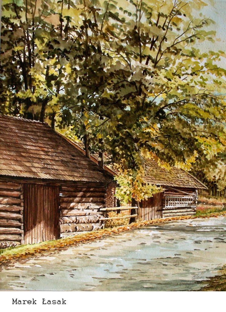 Marek Łasak_Ponikiew - ,,Stodoły,,45 x 32 akwarela