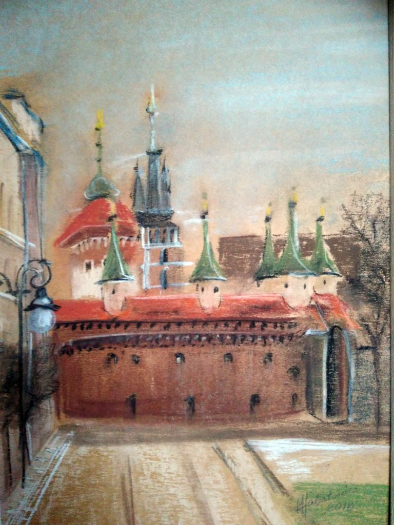 pastel_Kraków - Barbakan